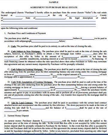 Free Printable Real Estate Purchase Agreement Pdf