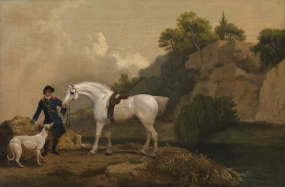 A Grey Hunter with a Groom and a Greyhound at Creswell Crags by George Stubbs, 1762