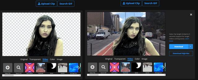 rimozione dello sfondo da un video e da una gif