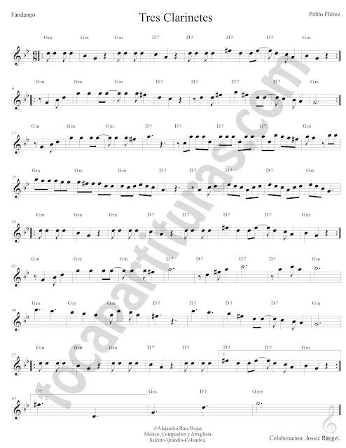 Tres Clarinetes Fandango de Pablo Florez Partitura Fácil con Acordes Tres Clarinetes Sheet Music with Chords