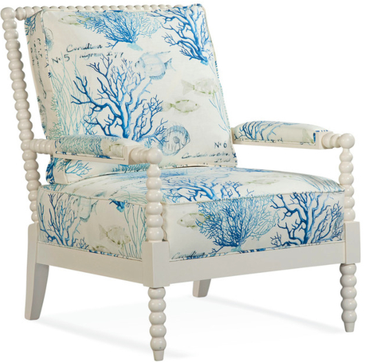 Lind Coastal Coral Reef Arm Chair White Wood
