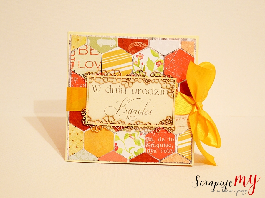 jesienne urodziny, kartka plaster miodu, scrapbooking, handmade