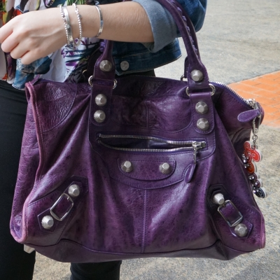 double denim with Balenciaga raisin purple work bag G21 silver hardware | away from the blue