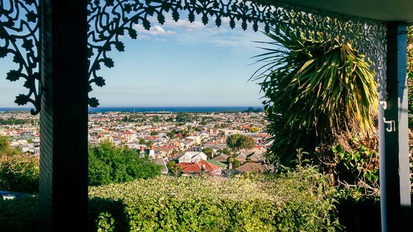 View of Otago Harbor over South Dunedin.