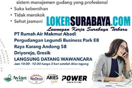 Walk In Interview Surabaya Terbaru di PT. Rumah Air Makmur Abadi November 2019