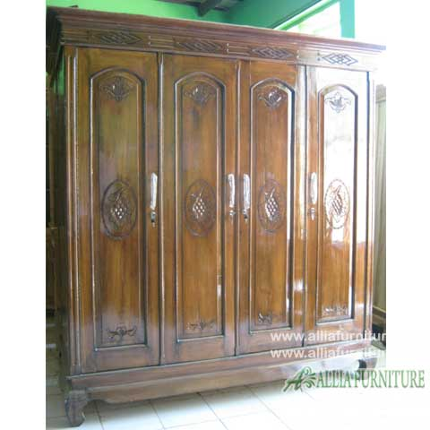 lemari pakaian kayu jati 4 pintu anggur
