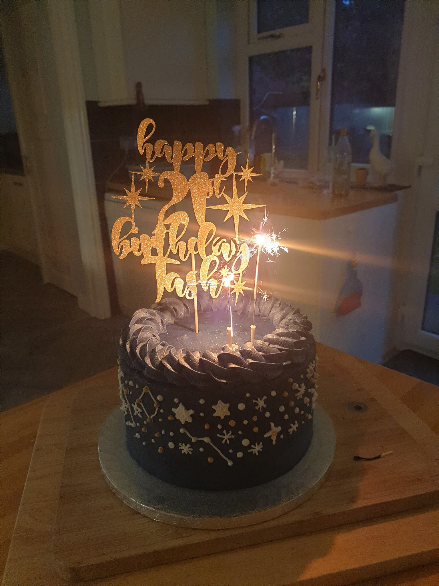 galaxy 21st birthday cake