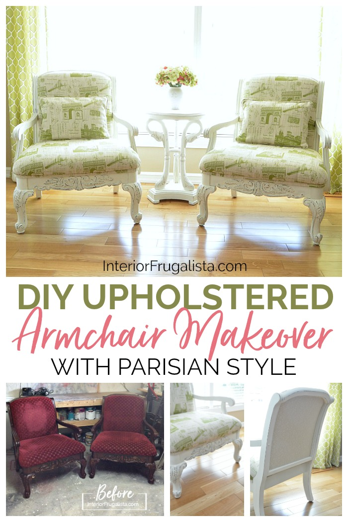 DIY Upholstered French Armchairs Before and After