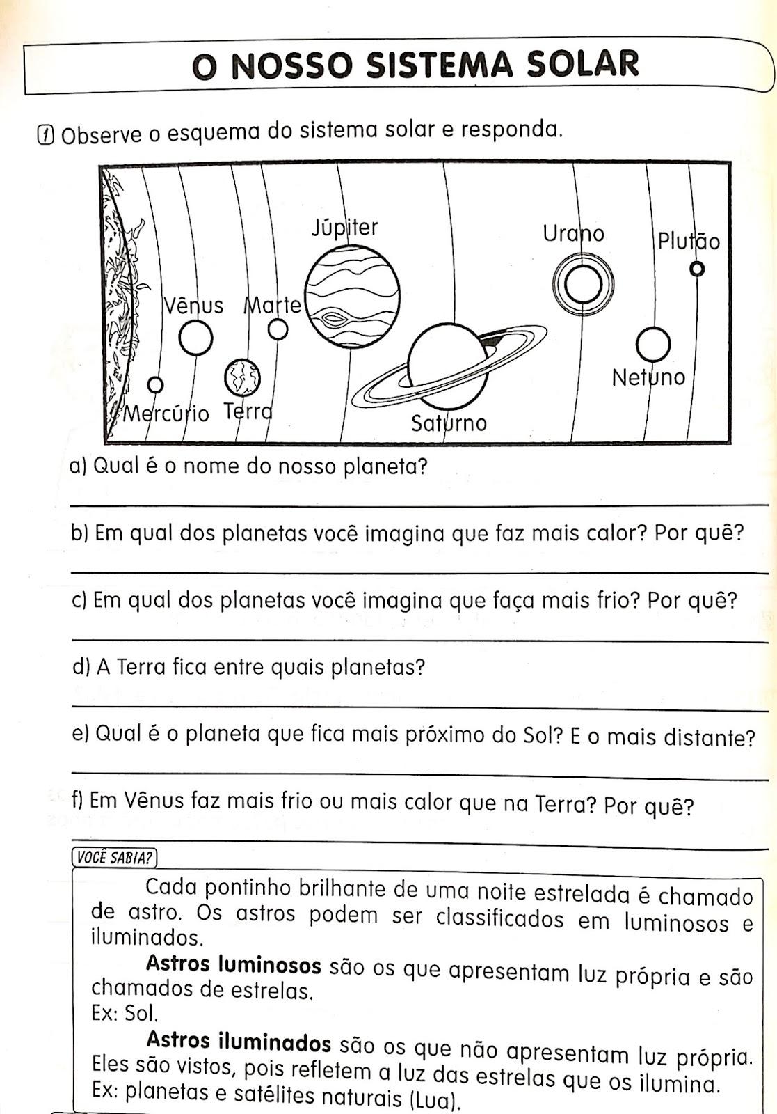 Ciencias O Sistema Solar Hora De Colorir Atividades Escolares