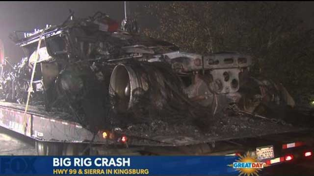fresno county kingsburg semi truck accident highway 99 fire