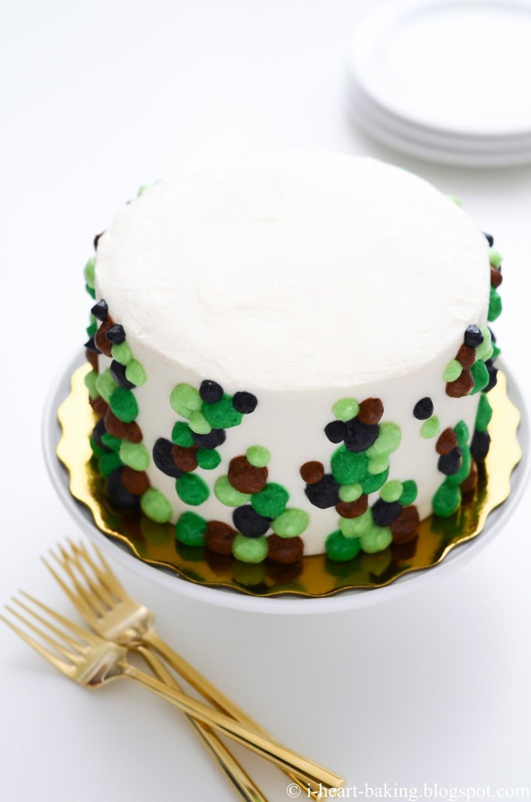 I Heart Baking Camouflage Inspired Polka Dot Birthday Cake