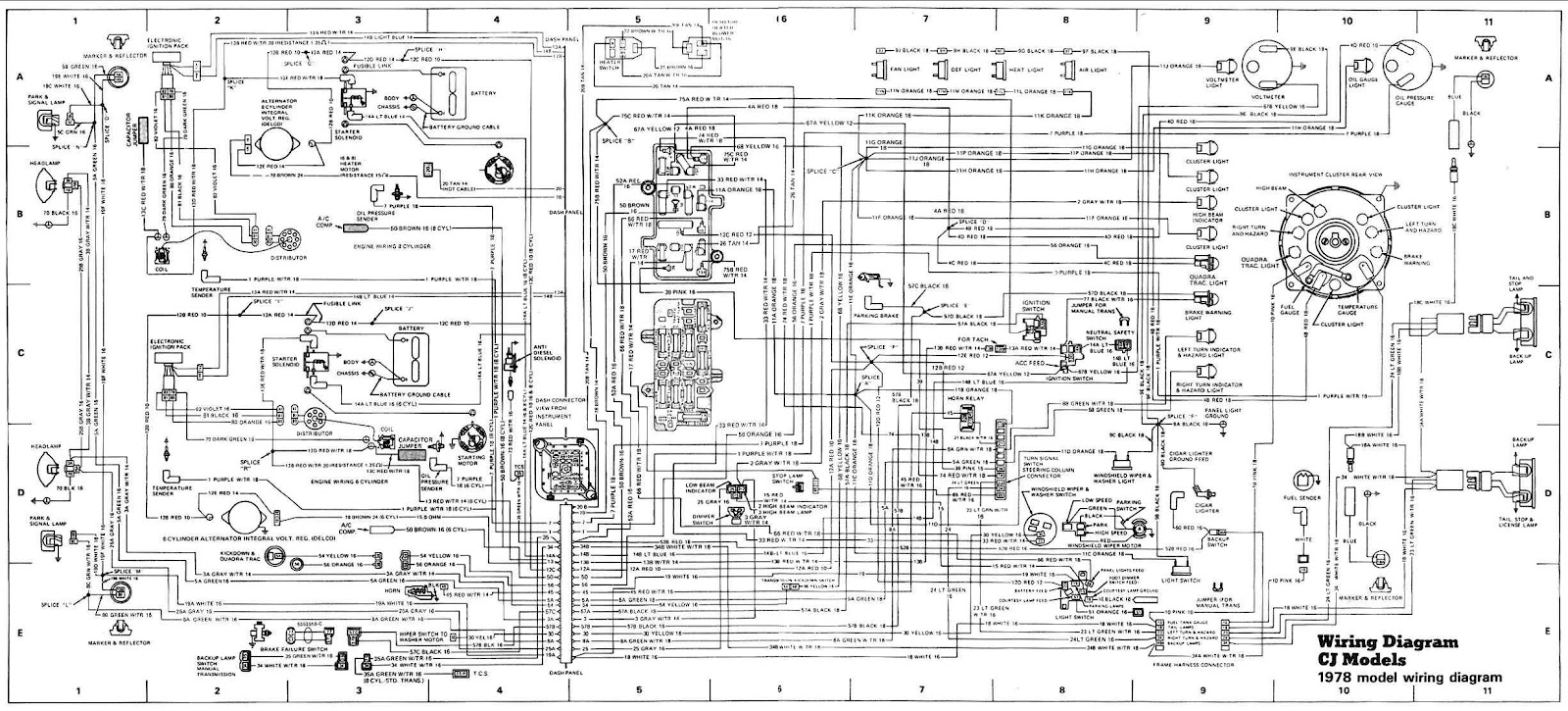 jeep cj models 1978 complete electrical wiring diagram 93 jeep wrangler tail light wiring diagram 1993 [ 1600 x 725 Pixel ]