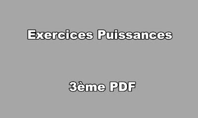 Exercices Puissances 3ème PDF
