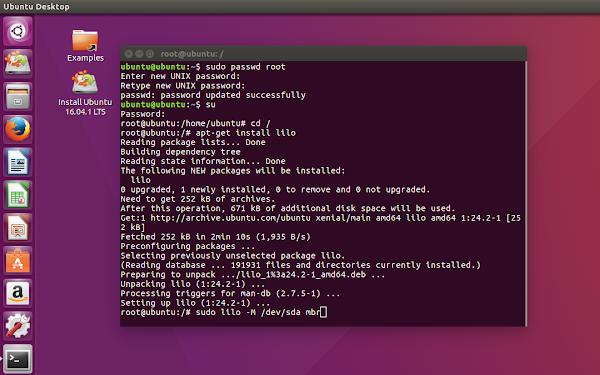 инсталация на LILO в Ubuntu LiveCD