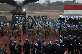 Satgas Kizi TNI Rayakan Tahun Baru di Afrika