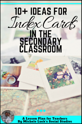 Check out these teaching, study, and organization ideas for using index cards in the middle and high school classroom. Here are just a few simple strategies that could have huge impacts on student learning. The number 10 is a huge time saver!