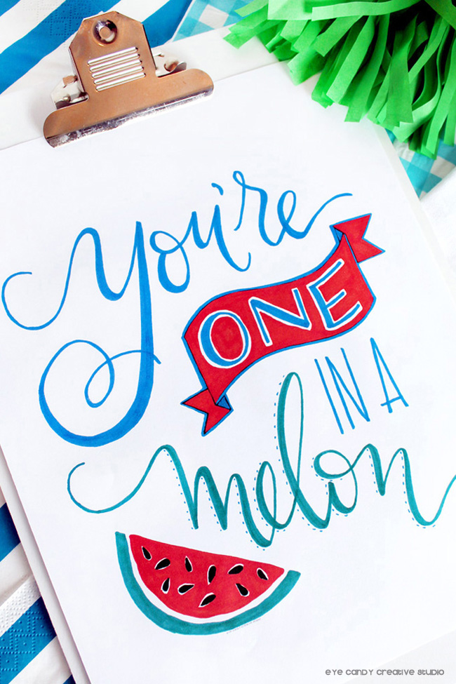 watermelon art, hand lettered, you're one in a melon art, free download