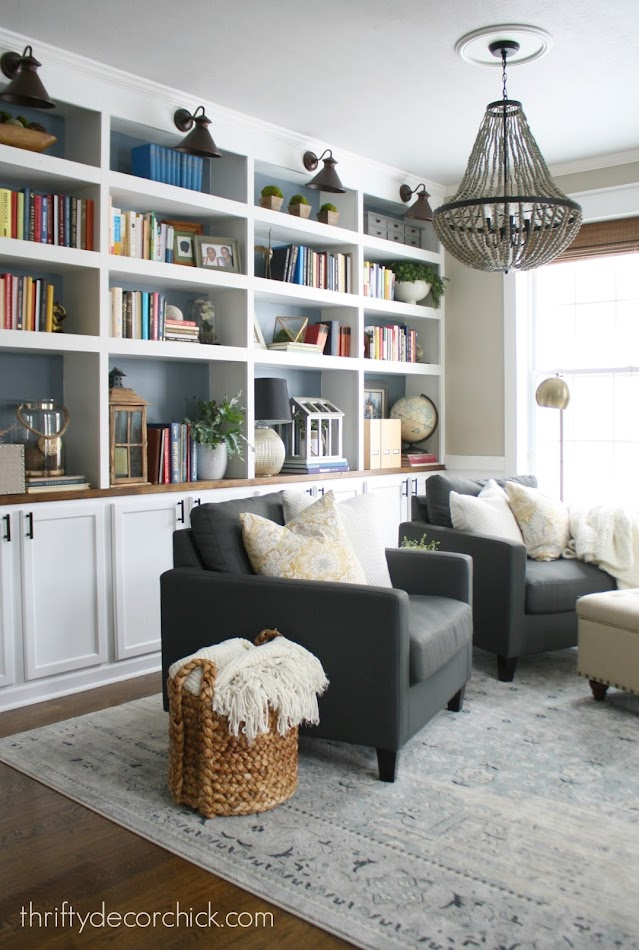 DIY wall of bookcases