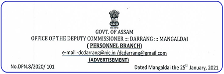 DC Office Darrang Junior Assistant Recruitment 2021