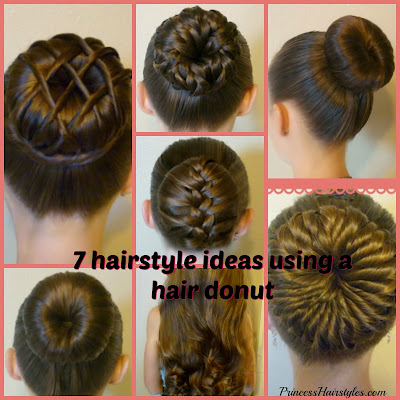 7 cute bun hairstyle ideas using a hair donut or bun maker.