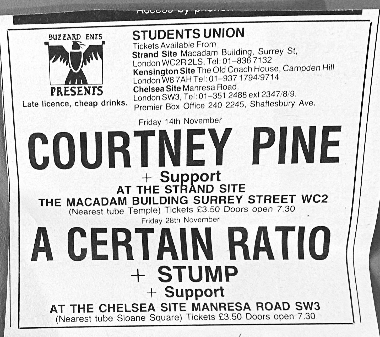 28 November 1986, Students Union (Chelsea Site), London - ACR Gigography