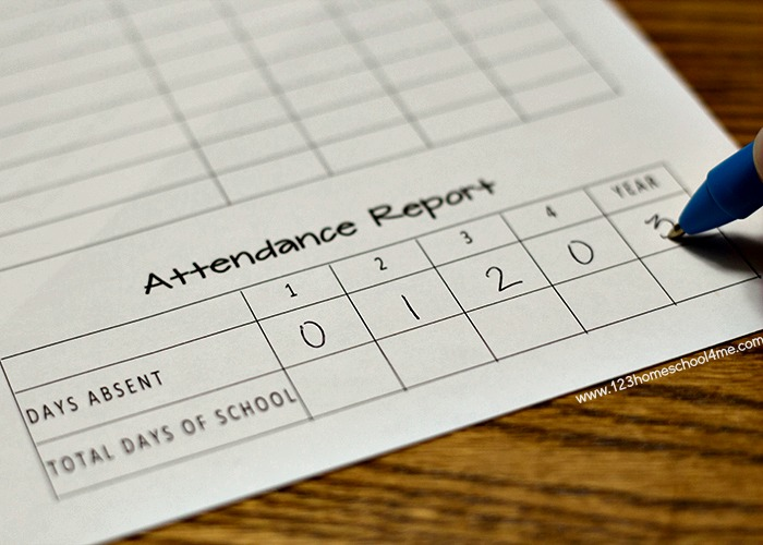 free printable homeschool attendance records
