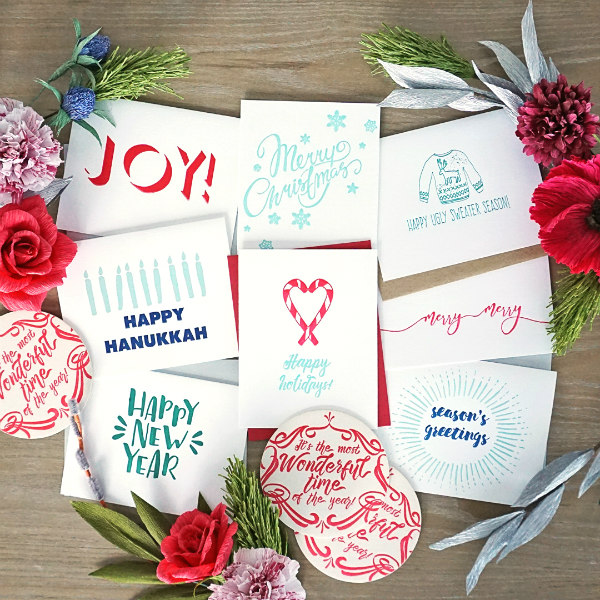 Letterpress Christmas card assortment