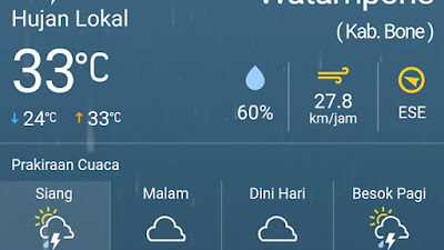 Hujan Turun Siang Ini, Begini Prakiraan Cuaca Lengkap BMKG di Bone