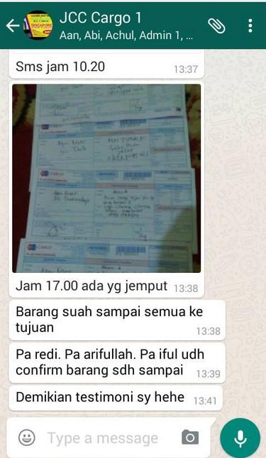 Testimoni Pelanggan JCC Cargo