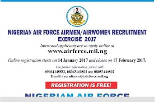 Nigerian Air Force –2017 Registration Starts 14th Jan and closes 17th Feb 2017 (No Fee Required)