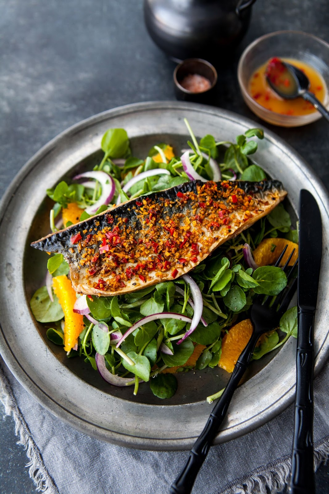 Grilled Mackerel And Watercress Salad With Orange And Chilli