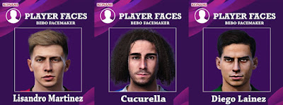 PES 2020 Faces Cucurella & Lainez & Martinez by Bebo