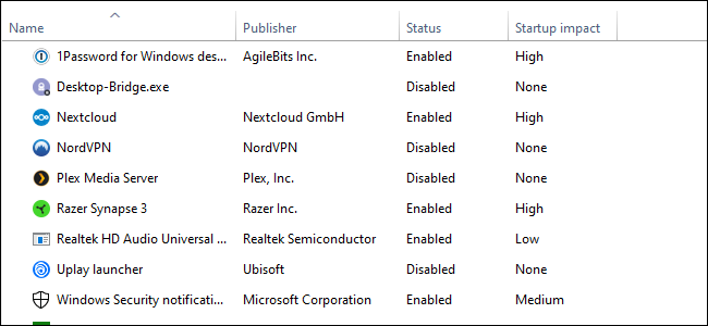 إدارة مهام Windows 10 ، وهي قائمة بأربعة أعمدة من النص على خلفية بيضاء