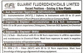 ITI, Diploma And B.E/B.Tech Jobs Vacancy Supervisor and Engineer Post in Gujarat Fluorochemicals Limited