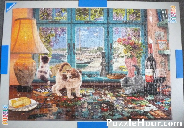 Ravensburger jigsaw puzzle the puzzlers desk 1000 pieces Steve Read artist cats kittens desk seaside view