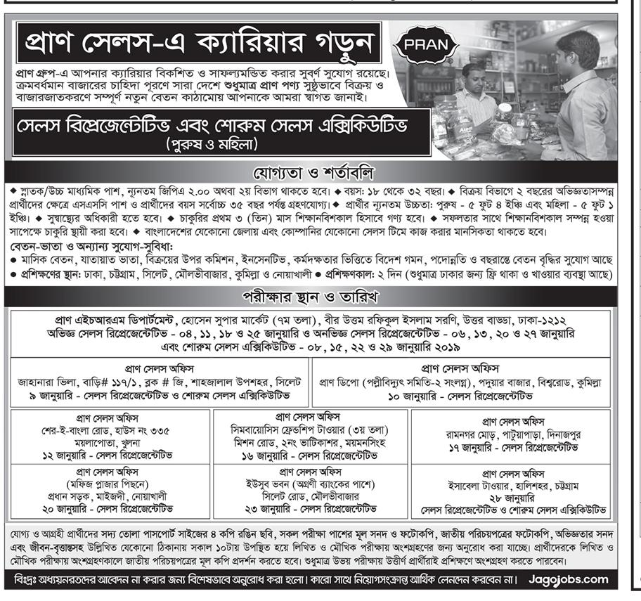 Pran Group Sales Representative Job Circular 2019