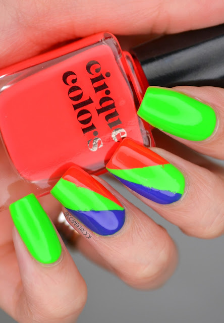 Cirque Vice Neon Colourblocking Nail Art