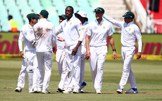 South African Test Cricket Team celebrate a wicket