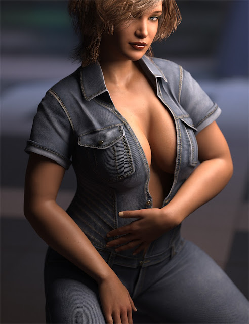 Classic Denim Jumpsuit for Genesis 3 Female