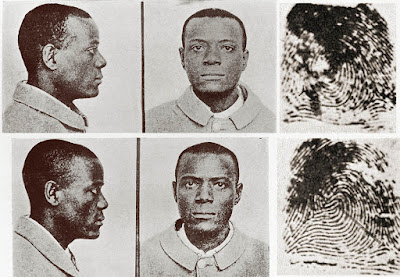 Photo comparing mug shots and fingerprint of Will West and William West