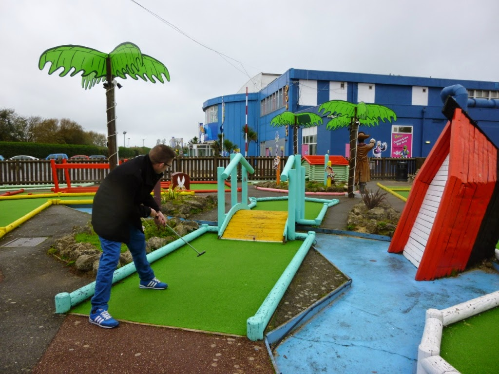 Richard Gottfried playing the Adventure Golf course at Pontins Camber Sands Holiday Park
