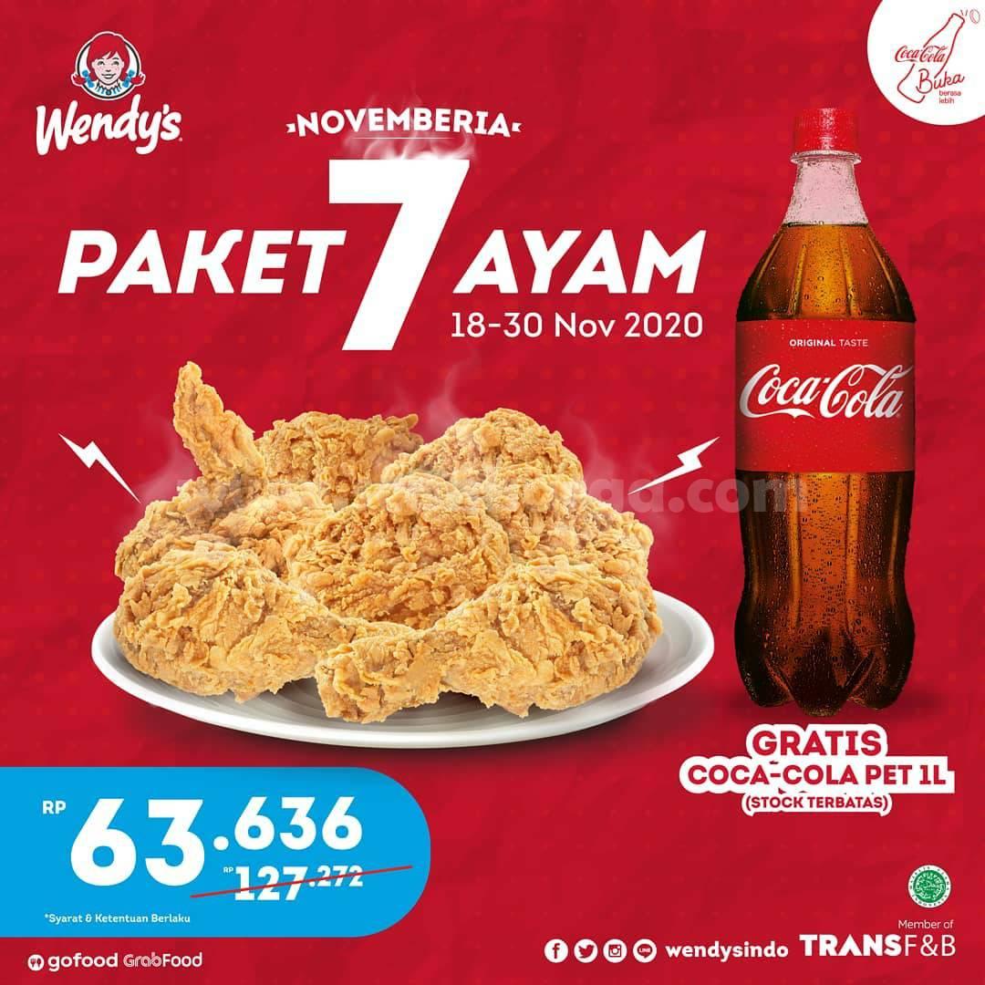 Promo Wendy's Terbaru: Paket 7 Ayam + Gratis Coca Cola harga hanya Rp 63.636