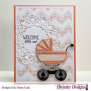 Divinity Designs Stamp Set: Sweet Baby, Custom Dies: Baby Carriage, Chevron Background, Doily, Paper Collection: Baby Girl