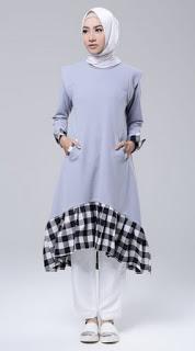 Busana muslim tunik modern yang fashionable
