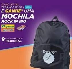 Promoção JET OIL Troque Óleo Ganhe Mochila Rock in Rio 2019 - Km de Vantagens Ipiranga