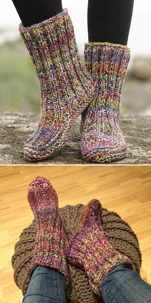 Knit Ribbed Garter Stitch Slippers - Free Knitting Pattern