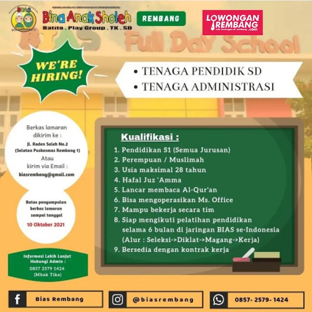 Lowongan Kerja Tenaga Pendidik dan Tenaga Administrasi SD Bina Anak Sholeh (BIAS) Rembang