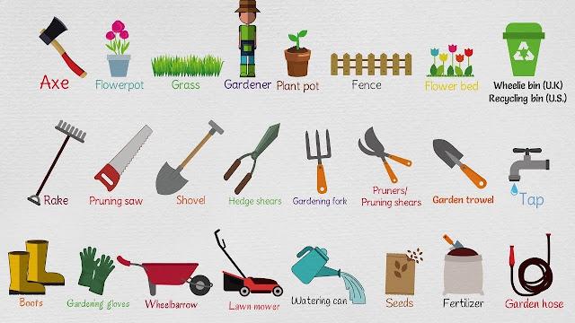 Gardening tools name