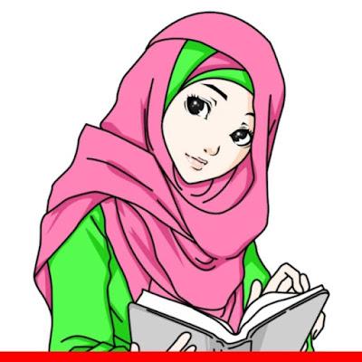 kartun muslimah mengaji Alquran