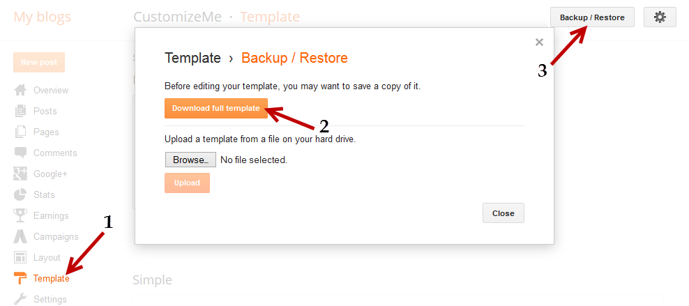 blogger template backup